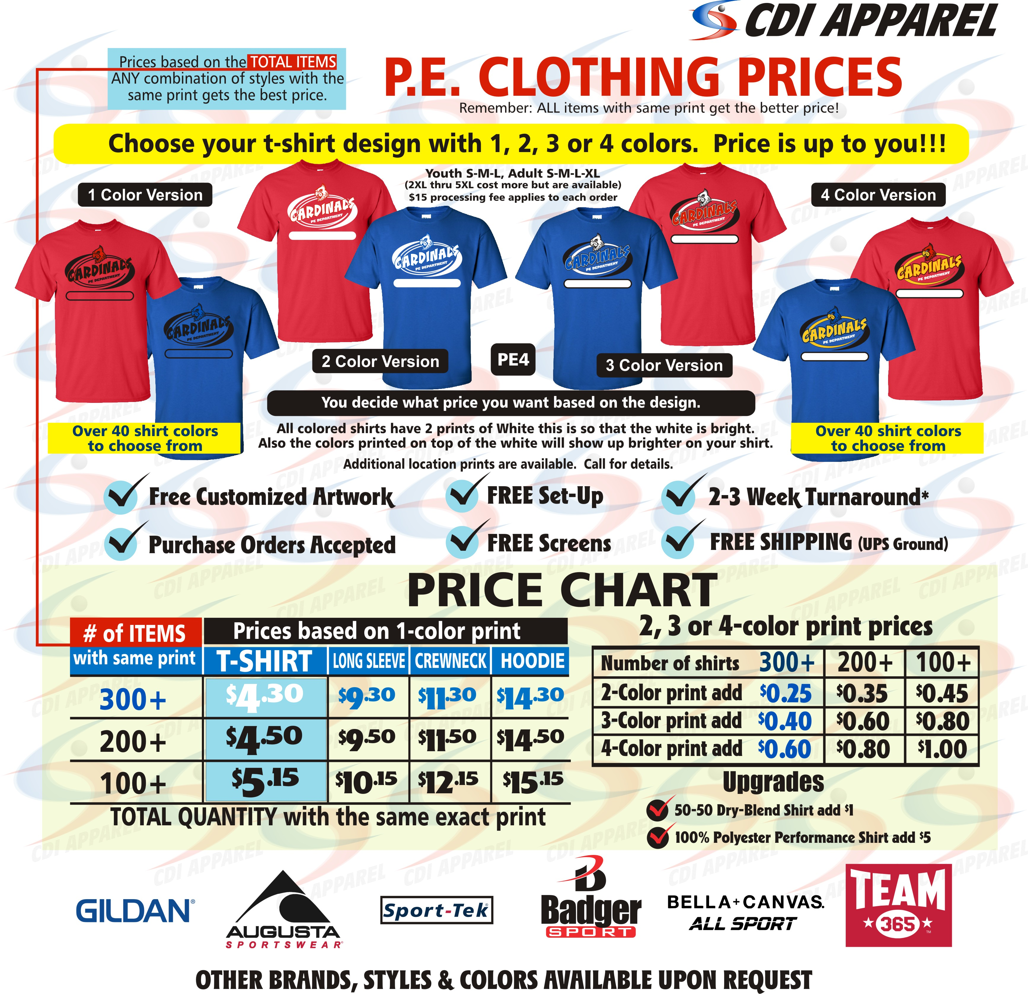 PE Clothes Pricing June 2017 Website Shirt Prices