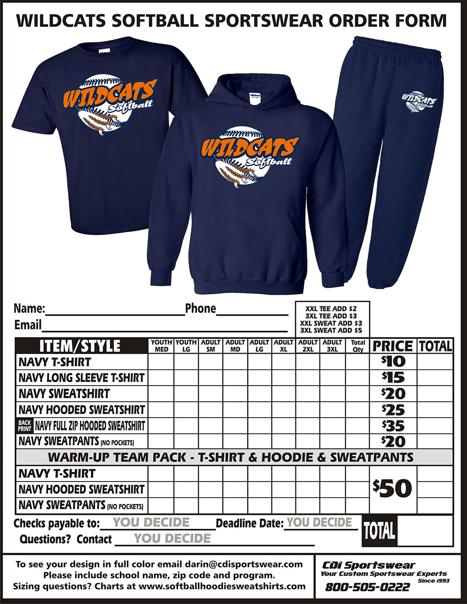 Risk free apparel softball sportswear take pre paid orders using our free custom order form publicscrutiny