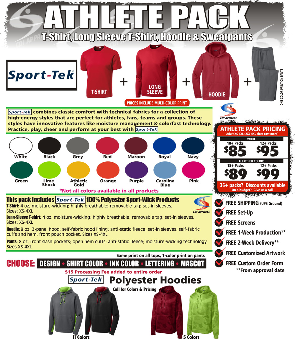 Athlete-Team-Pack-Custom-T-Shirt-Long-Sleeve-Hoodie-Hooded-Sweatpants-Sweat-Pants-Sweatshirt-Sport-Tek-Sportswear