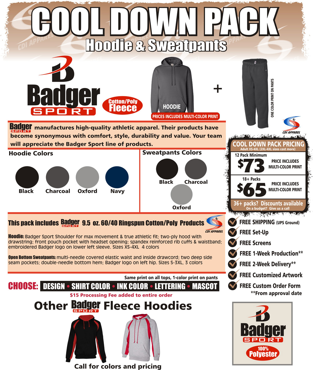 Cool-Down-Team-Pack-Custom-T-Shirt-Hoodie-Sweatshirt-Hooded-Badger-Sportswear-Fleece