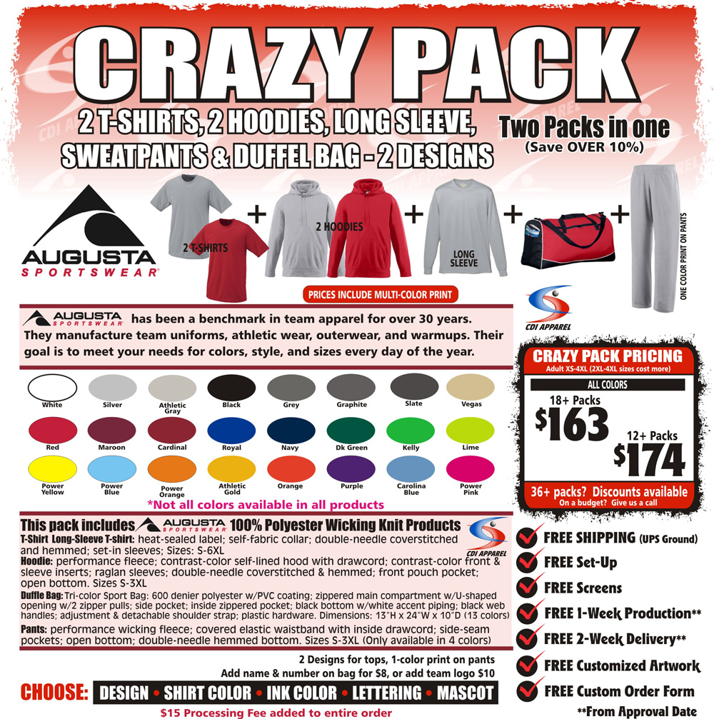 Crazy-Team-Pack-Custom-T-Shirt-Long-Sleeve-Hoodie-Sweatshirt-Sweatpants-Tshirt-Hooded-Sweatshirt-Duffel-Game-Bag-Augusta-Sportswear