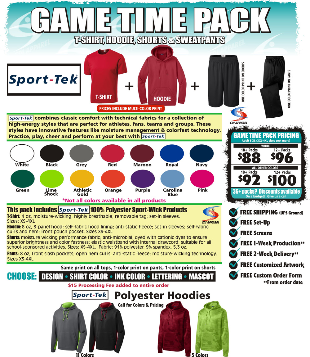 Game-Time-Team-Pack-Custom-T-Shirt-Long-Sleeve-Hoodie-Sweatshirt-Shorts-Sweatpants-Sweat-Pants-Sport-Tek-Sportswear