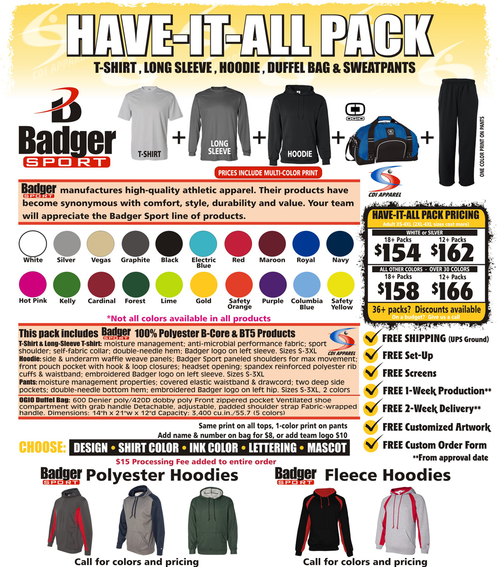 Have-It-All-Team-Pack-Custom-T-Shirt-Long-Sleeve-Hoodie-Hooded-Sweatpants-Sweat-Pants-Sweatshirt-Duffel-Bag-Badger-Sportswear