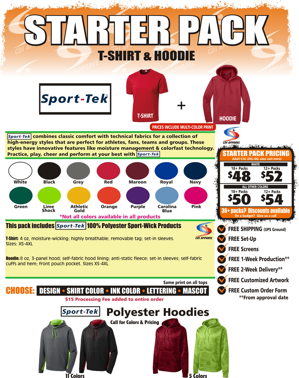 Starter-Team-Pack-Custom-T-Shirt-Hoodie-Sweatshirt-Hooded-Sport-Tek-Sportswear
