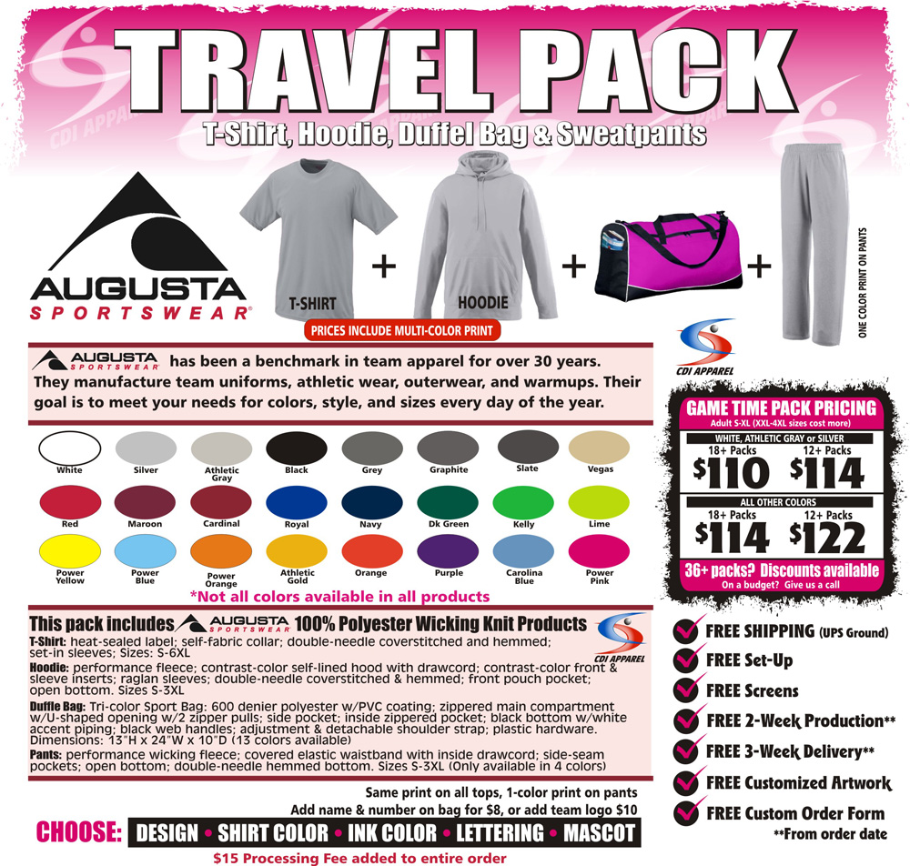 Travel-Team-Packs-Custom-T-Shirt-Hoodie-Sweatpants-Hooded-Duffel-Bag-Augusta-Sportswear
