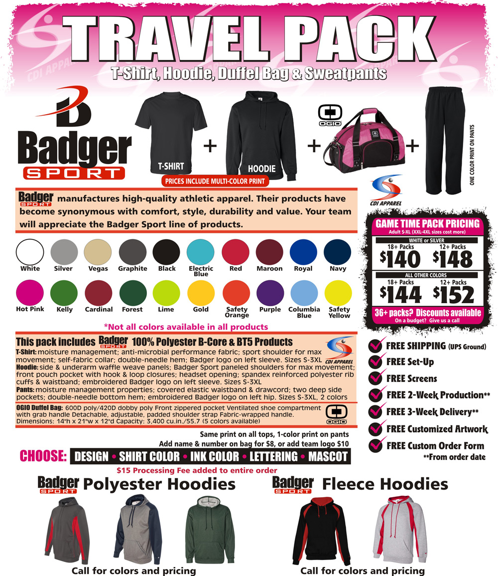 Travel-Team-Packs-Custom-T-Shirt-Hoodie-Sweatpants-Hooded-Duffel-Bag-Gildan-Badger-Sportswear