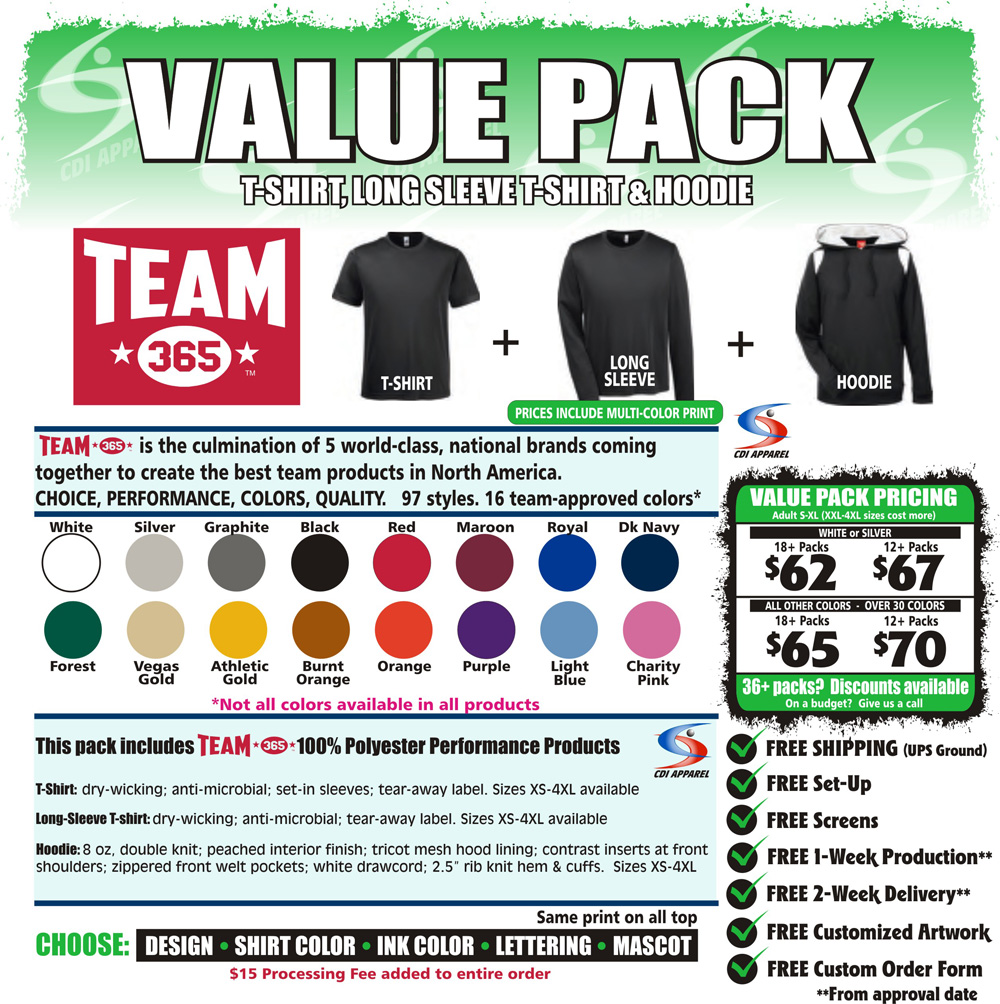Value-Team-Pack-Custom-T-Shirt-Long-Sleeve-Tshirt-Hoodie-Hooded-Sweatshirt-Team-365