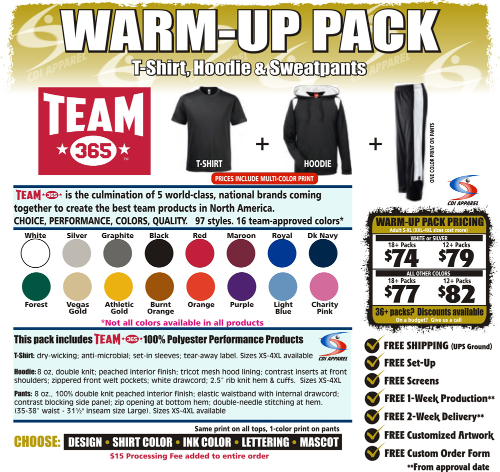 Warm-Up-Team-Pack-Custom-T-Shirt-Hoodie-Sweatshirt-Hooded-Sweatpants-Sweat-Pants-Team-365-Sportswear